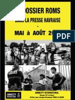 Les Roms dans la presse havraise de mai à septembre 2013 Amnesty International Le Havre