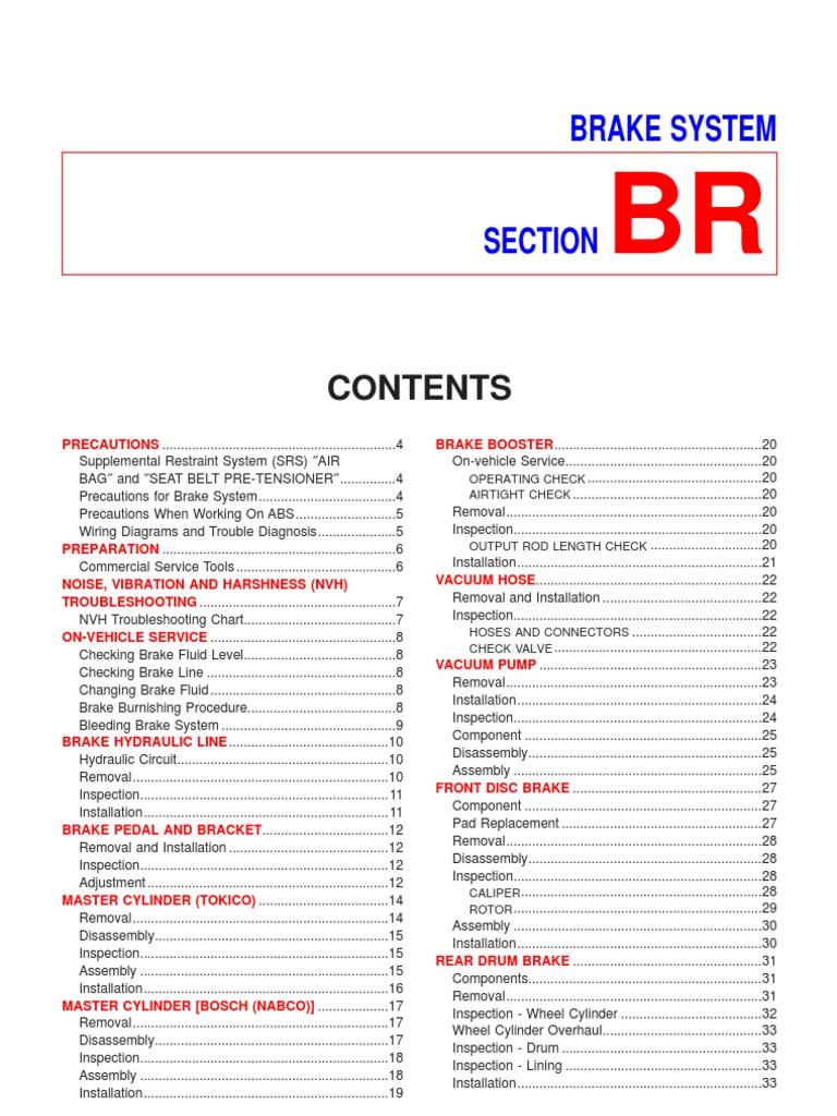 Nissan Sentra N16 Brake Service Manual Airbag Vacuum Pump Wiring Diagram