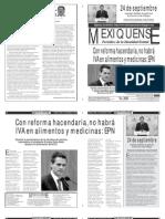Versión impresa del periódico El mexiquense  9 septiembre 2013