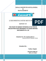 THE STUDY OF MARKET POTENTIAL OF HI-TECH & ROLLER PENS WITH REFERENCE TO LUXOR WRITING INSTUMENTS Pvt. Ltd
