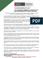 POLICÍA DESARTICULÓ 20 BANDAS CRIMINALES Y DETUVO A 763 PERSONAS EN NUEVO MEGAOPERATIVO A NIVEL NACIONAL