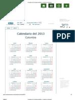 Calendario de Colombia del 2013 _ ¿Cuándo en el Mundo_