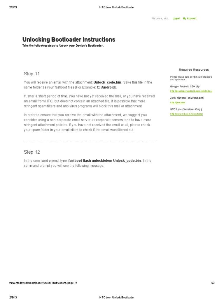 HTCdev - Unlock Bootloader | Booting | Email