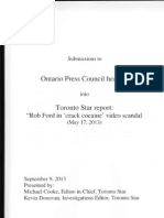 Submissions to Ontario Press Council Hearing