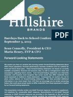 HSH Hillshire Brands Sept 2013 Investor Slide Deck Powerpoint PPT PDF
