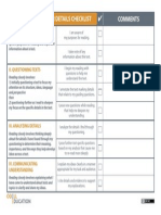 Reading Closely Checklist
