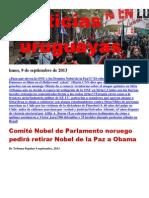 Noticias Uruguayas Lunes 9 Setiembre Del 2013