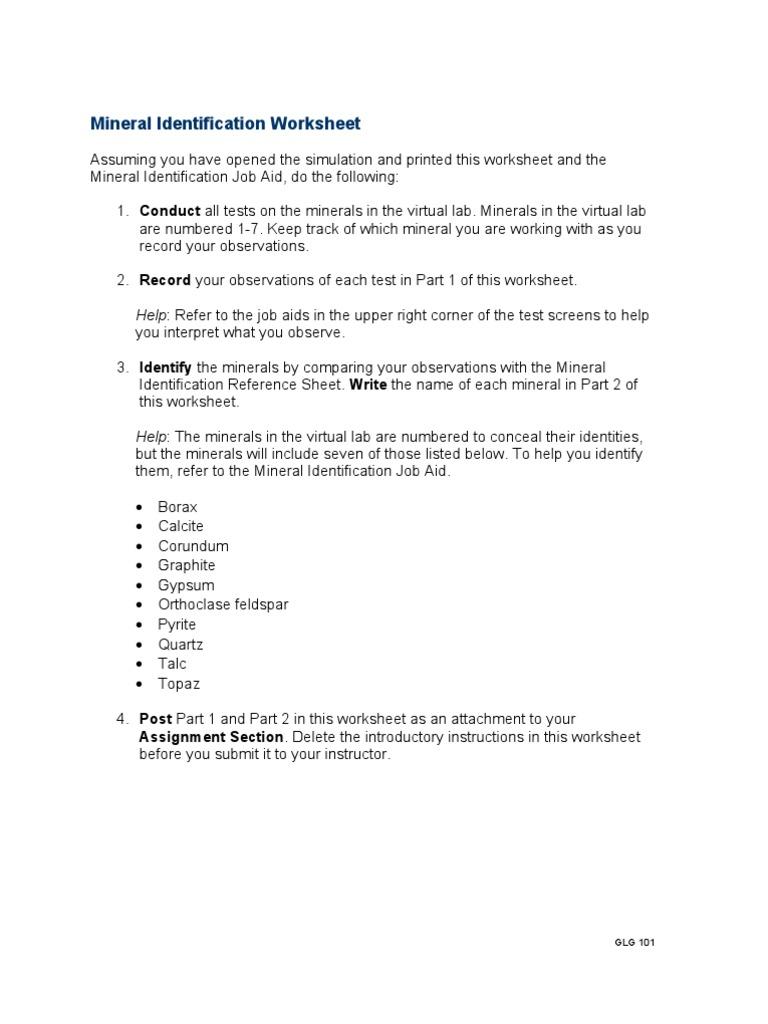 Glg101r2 Appendix c Mineral Identification Worksheet