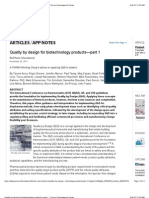 Quality by design for biotechnology products—part 1 - Process Development Forum