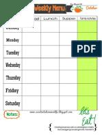 Weekly Menu Plan Printable- October Theme