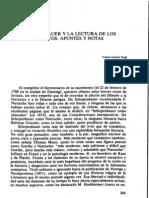Schopenhauer y la lectura de los clásicos, Apuntes y notas - Carlos García Gual