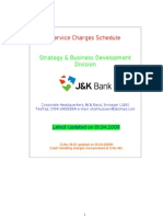 Service Charges Schedule of JK BANK