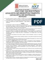 Aocp 2009 Desenbahia Analista de Desenvolvimento Analista de Sistemas Prova
