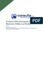 05-09-2013  e-consulta - Evaluará ONG desempeño del Ministerio Público en Puebla