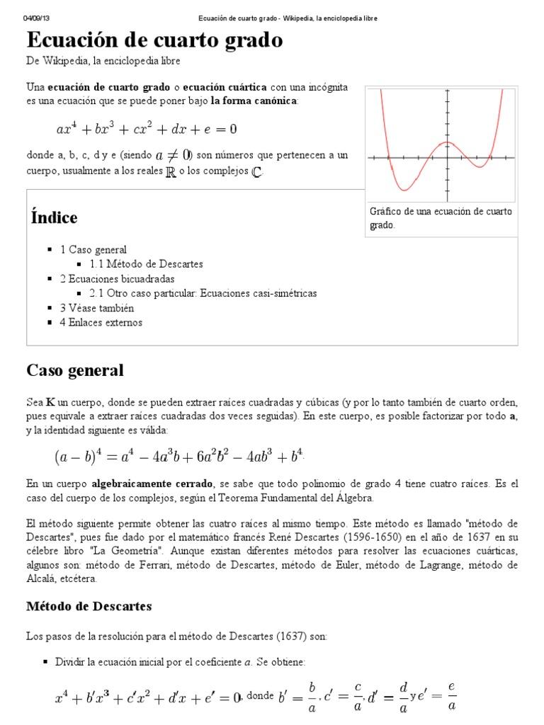 Ecuación de cuarto grado - Wikipedia, la enciclopedia libre