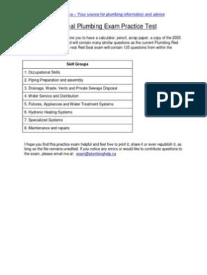 Plumbing Practice Exam | Pipe (Fluid Conveyance) | Pump