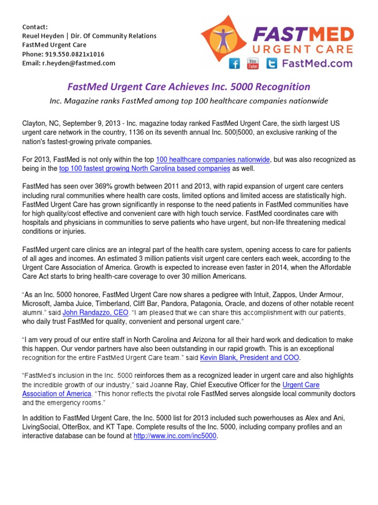 FastMed Urgent Care Achieves Inc 5000 Recognition – Top 100 Healthcare  Companies, Top 100 North Carolina Companies | Urgent Care | Patient