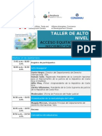 Agenda - Costa Rica, SEP 2013. Taller Acceso Equitativo a la Información Pública