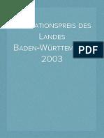 2003 - Dokumentation des Innovationspreises des Landes Baden-Württemberg 2003