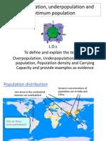 overpopulation underpopulation and optimum population
