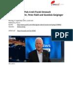 Transkript Wahlarena auf Puls 4 mit Frank Stronach mit Thomas Mohr, Peter Rabl und Gundula Geiginger