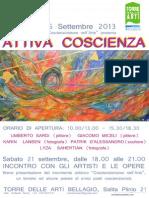 """Mostra """"Attiva Coscienza"""" a Bellagio 18/26 settembre 2013 presentata dal movimento artistico Coscienzionismo nell'Arte."""
