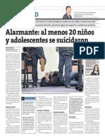 Alarmante, al menos 20 niños y adolescentes se suicidaron