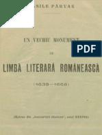 Vasile Pârvan, Un vechi monument de limbă literară românească
