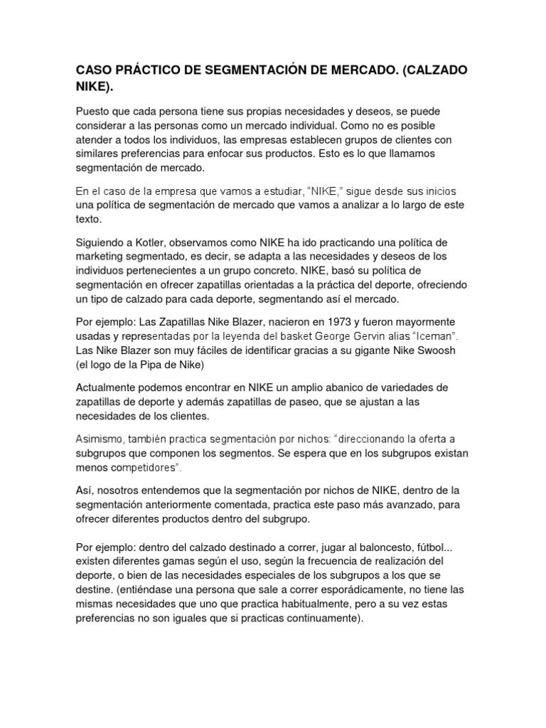 reembolso Salvaje descanso  CASO PRÁCTICO DE SEGMENTACIÓN DE MERCADO nike | Nike | Mercado (economía)