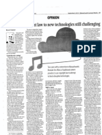 Applying Copyright Law to New Technologies Still Challenging - 9-9-13 Lawyers Weekly Article