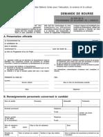 Formulaire de Demande de Bourse UNESCO