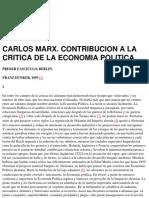 Engels F - Carlos Marx Contribucion a La Critica de La Economia Politica