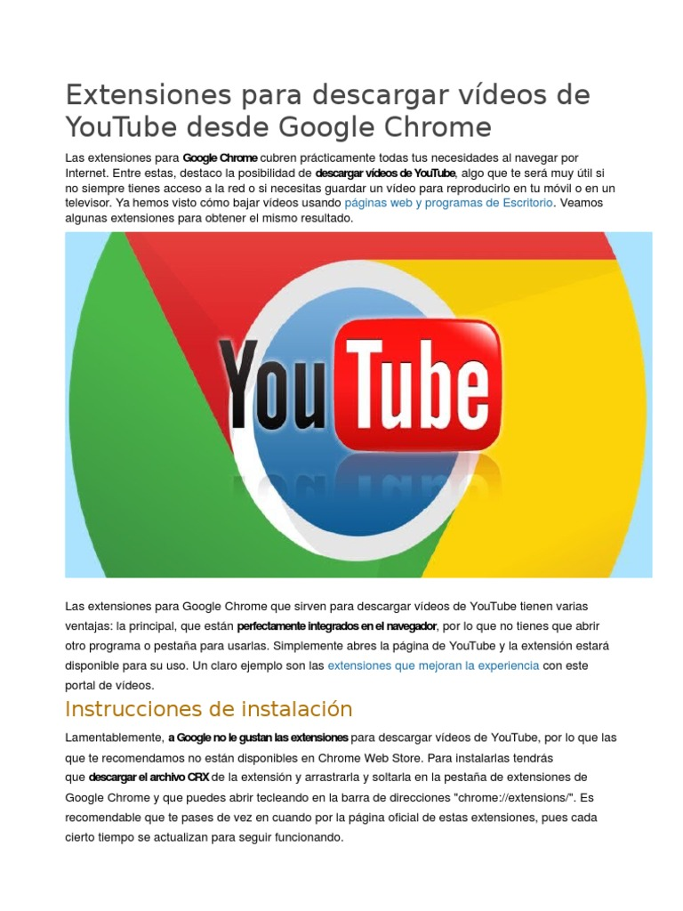 Extensiones para descargar vídeos de YouTube desde Google Chrome