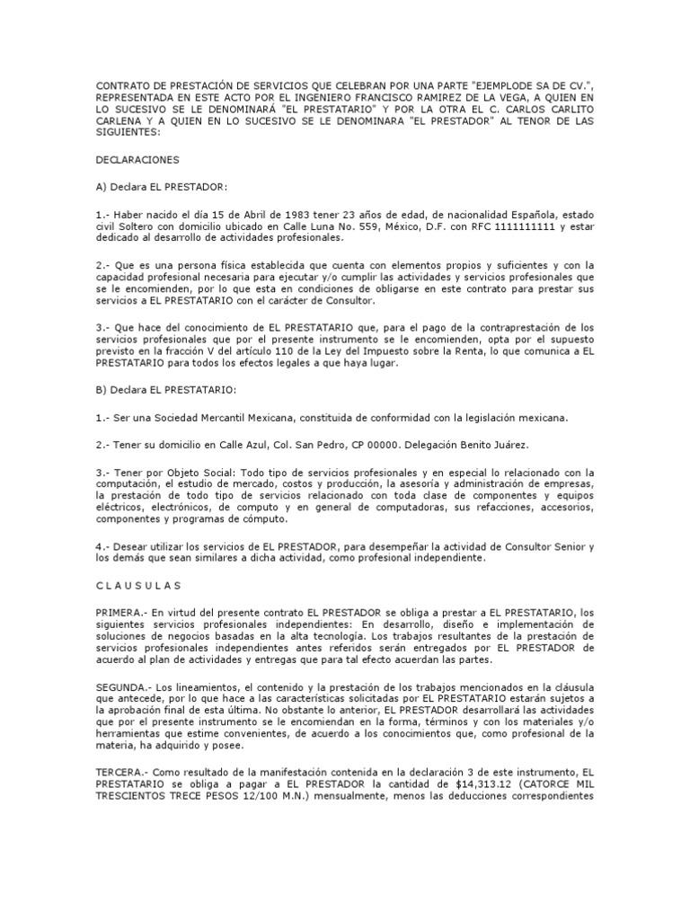 Modelos Contrato Prestacion Servicos