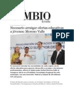 09-09-2013 Diario Matutino Cambio de Puebla - Necesario arraigar ofertas educativas a jóvenes, Moreno Valle