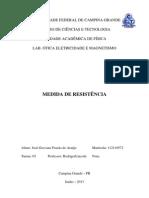Relatório 4 - Medida de resistência