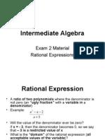 Intermediate Algebra Unit 6  Rational Expressions