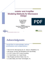 Transistor Amplifier Modeling Methods for Microwave Design