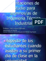Orientaciones de estudio para alumnos de Ingeniería Técnica Industrial