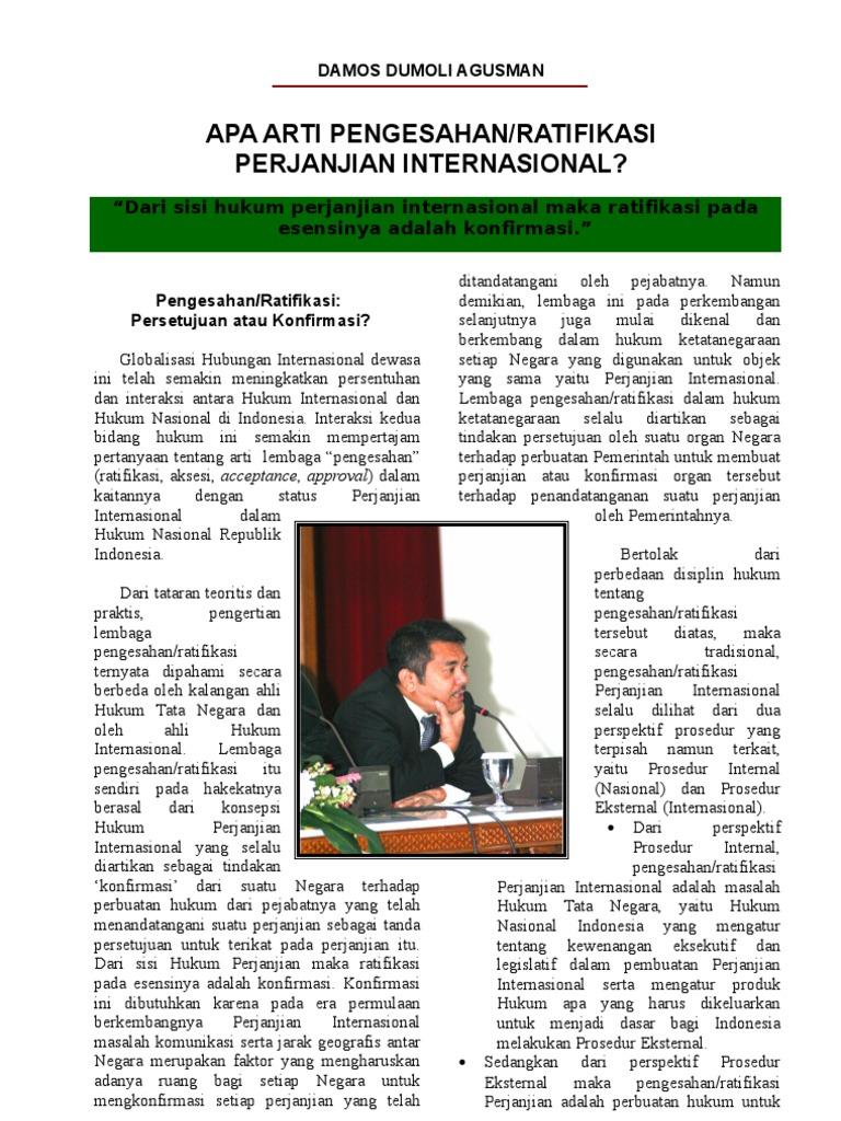 Apa Arti Pengesahan/Ratifikasi Perjanjian Internasional?