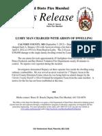 2013-09-05 Calvert Arson Arrest Cove Point Road