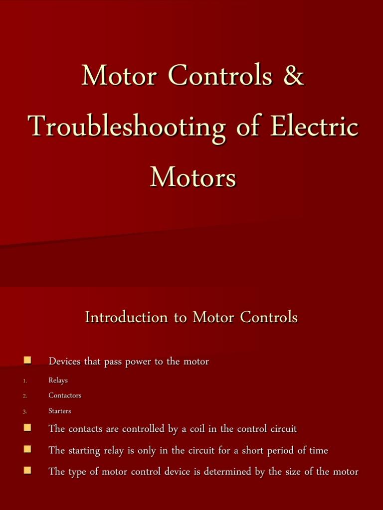 Motor Controls Troubleshooting Of Electric Motors