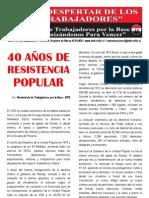 El Despertar de los Trabajadores - 40 años de Resistencia Popular