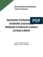 Honorarios Profesionales en Incidentes Concursales - Fernando Lavecchia