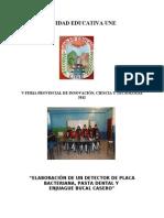 ELABORACIÓN DE UN DETECTOR DE PLACA BACTERIANA UNE 2012