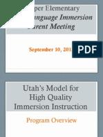 Dual Language Immersion Parent Meeting 9.10.13