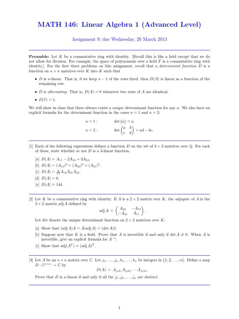hoffman kunze linear algebra assignment math double dual linear maps  determinants | Determinant | Matrix (Mathematics)