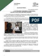 9/09/13 Germán Tenorio Vasconcelos Fortalecer La Autoestima y Desarrollo Emocional, Factor Clave Para Prevenir Suicidios