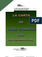 Hugo Von Hoffmannsthal - La Carta de Lord Chandos