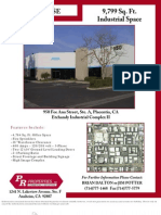 For LEASE 9,799 Sq. Ft. Industrial Space 950 Fee
